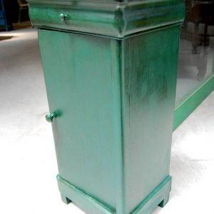 comodino luigi filippo meta 800 cappuccino laccato verde bottiglia h 84 cm 01 5