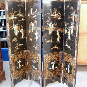 paravento cinese laccato e dipinto decorato con pietre dure h 183 cm 01 16