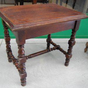 tavolino gamba tornita in rovere massello 800 fronte 80 cm 01 11