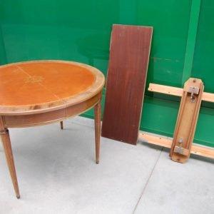 tavolo allungabile in stile luigi xvi in mogano diametro 110 cm completo di prolunga 01