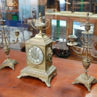 trittico orologio in bronzo napoleone iii fine 800 con candelabri h 38 cm 01