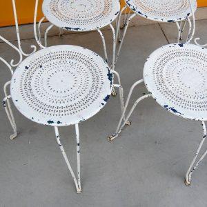 4 sedie da giardino decorate in ferro inizio 900 verniciate bianche h 95 cm 01 3
