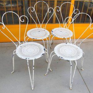 4 sedie da giardino decorate in ferro inizio 900 verniciate bianche h 95 cm 01 5