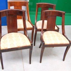 4 sedie impero gondoline fine 800 in mogano h 79 cm seduta imbottita 01 9