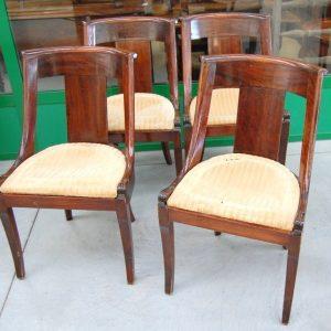 4 sedie in mogano massello impero meta 800 gondoline seduta imbottita 01