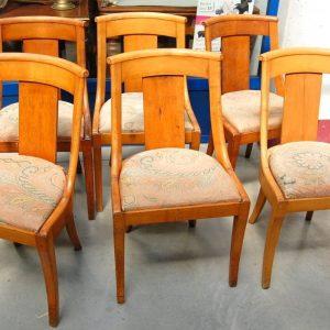 6 sedie gondoline impero in ciliegio massello seduta imbottita prima meta 800 h 106 cm 01 14