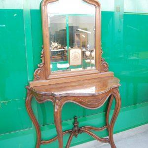 consolle piu specchio luigi filippo meta 800 in noce fronte 119 cm 01 6