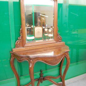 consolle piu specchio luigi filippo meta 800 in noce fronte 119 cm 01 7