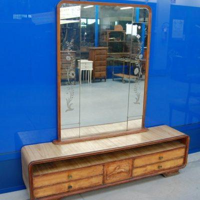 mobile da ingresso anni 50 in olmo con specchiera divisibile fronte 167 cm 01 7