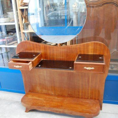 modernariato consolle anni 60 in mogano con specchio basculante fronte 106 cm 01 6