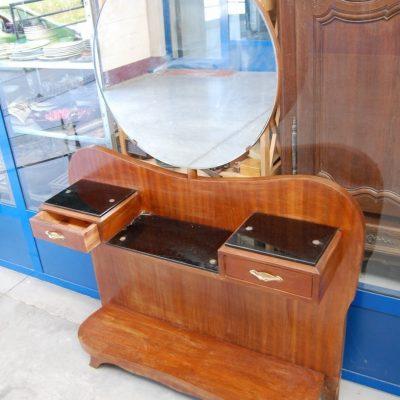 modernariato consolle anni 60 in mogano con specchio basculante fronte 106 cm 01 9