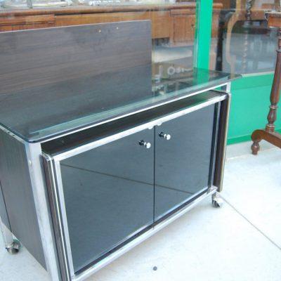 modernariato mobile tv in vetro e acciaio fronte 78 cm spedizione gratuita 01 4