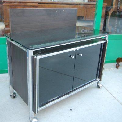 modernariato mobile tv in vetro e acciaio fronte 78 cm spedizione gratuita 01 5