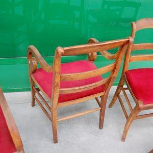 serie di 6 sedie e 2 poltrone in ciliegio massello restaurazione bracciolo a ricciolo meta 800 01 12