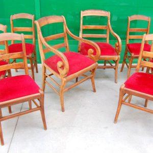 serie di 6 sedie e 2 poltrone in ciliegio massello restaurazione bracciolo a ricciolo meta 800 01 14
