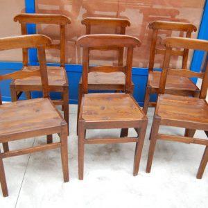 6 sedie rustiche in ciliegio massello piemontesi carabiniere h 86 cm 01 17