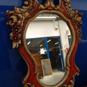 specchio specchiera scolpita con fiori e volute laccata dorata inizio 900 h 111 cm 01 12