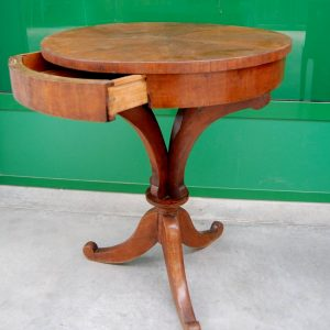 tavolino impero in noce primo 800 diametro 57 cm h 69 cm cassettino 01 14