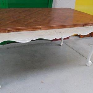 tavolo allungabile a tiro provenzale lato 159 cm piu 50 cm x 2 gamba laccata 01 12