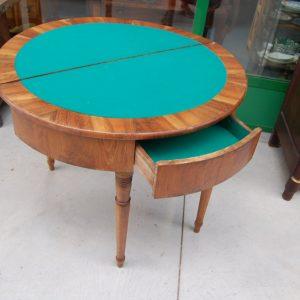 tavolo da gioco a mezza luna 800 noce italia diametro 99 cm con scacchiera 01 11