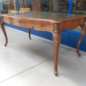 tavolo scrivania chippendale in mogano completo di piano in vetro lato 174 cm 01 10