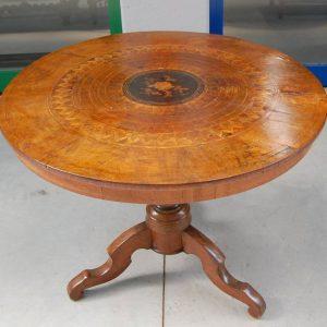 tavolo sorrentino inizio 800 diametro 89 5 cm intarsi in noce ciliegio acero 01 13