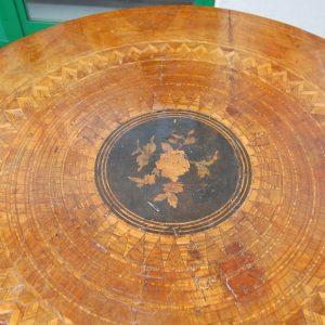 tavolo sorrentino inizio 800 diametro 89 5 cm intarsi in noce ciliegio acero 01 9