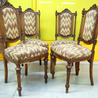 4 sedie umbertine in noce massello 800 imbottite 01 12