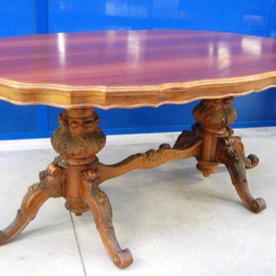 tavolo noce barocchetto piano sagomato gamba scolpita lato 183 cm 01 8