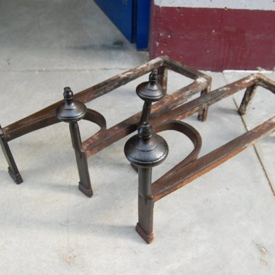 coppia di alari in ferro battuto prima meta 800 lunghi 54 cm 01 4