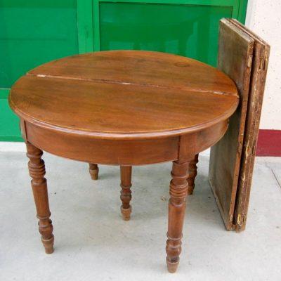 tavolo rotondo luigi filippo completo di 3 allunghe noce piemonte 01 10