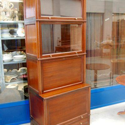 vetrina in mogano inglese modulare vetri a scomparsa h 210 cm 01 9