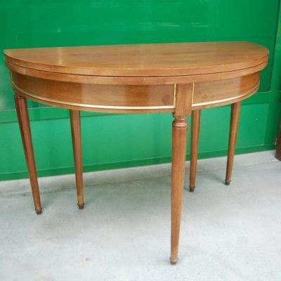 tavolo consolle a mezza luna in mogano luigi xvi 900 con ottoni diametro 110 cm 01 6