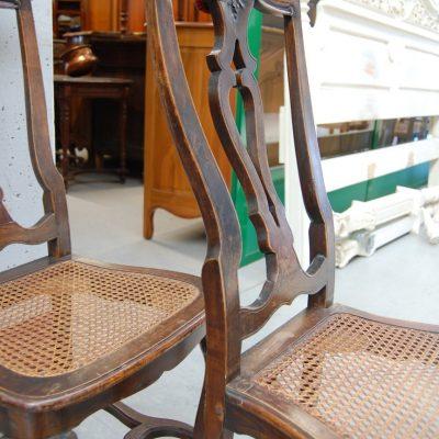 coppia di sedie inglesi chippendale 800 noce e paglia di vienna 01 12