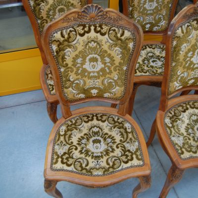 6 sedie provenzali imbottite scolpite con conchiglia h 96 cm 01 5