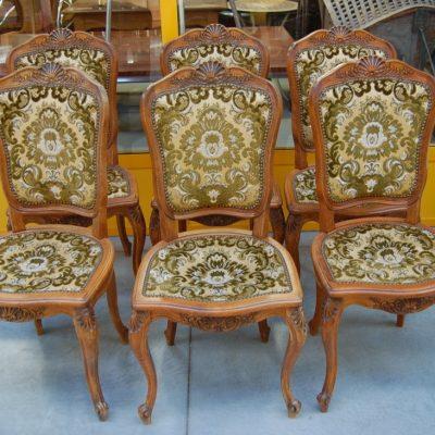 6 sedie provenzali imbottite scolpite con conchiglia h 96 cm 01 9