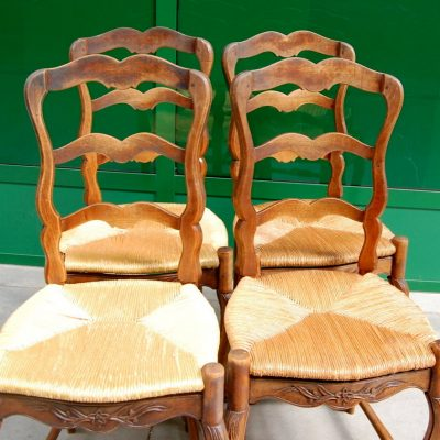 4 sedie provenzali in faggio scolpite seduta in paglia 01