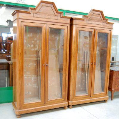 coppia di librerie biblioteche vetrine 800 italia fronte 116 cm 01 19