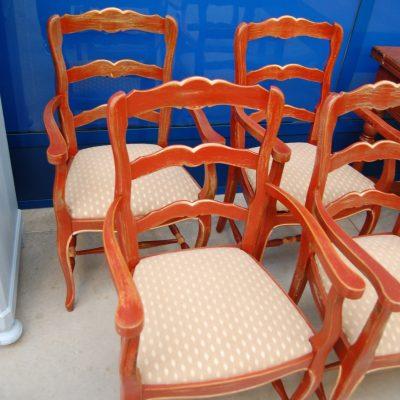 4 sedie capotavola provenzali laccate rosse seduta in 01 4