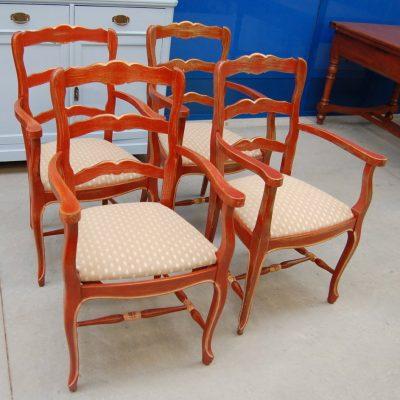 4 sedie capotavola provenzali laccate rosse seduta in paglia 01