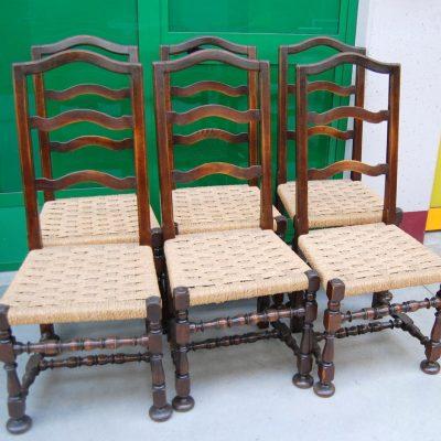 6 sedie in faggio massello rocchettate 800 seduta in paglia 01 8
