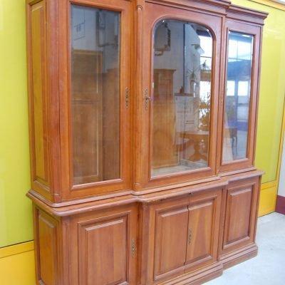 libreria vetrina biblioteca in ciliegio massello due corpi fronte 200 cm 01 16
