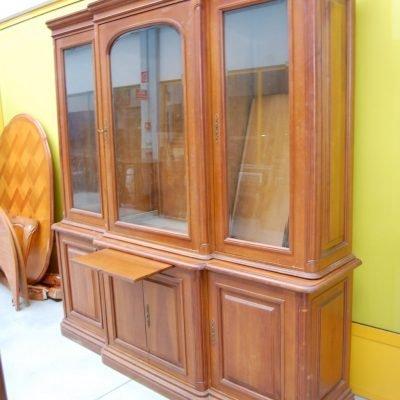 libreria vetrina biblioteca in ciliegio massello due corpi fronte 200 cm 01 3