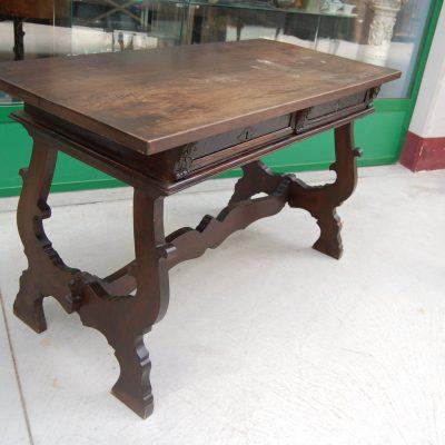 tavolo fratino gambe a lira noce 800 lato 125 cm 01
