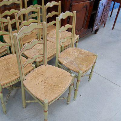 8 sedie laccate verdi seduta in paglia 01 14
