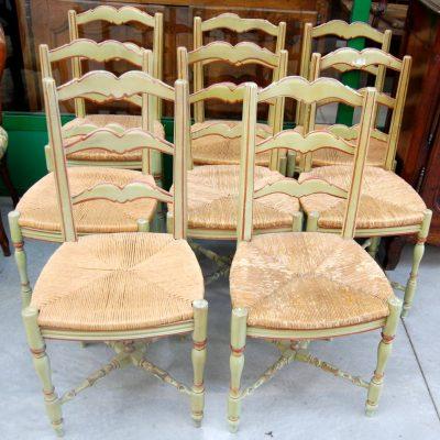 8 sedie laccate verdi seduta in paglia 01 24