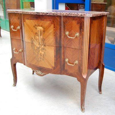 commode stile transizione palissandro bois de rose mogano fronte 101 cm 01 11