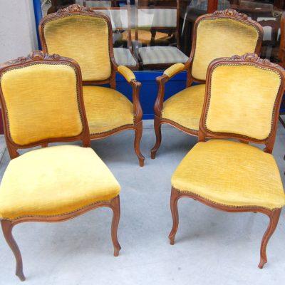 salotto composto da 2 poltrone e 2 sedie imbottite scolpite rocaille 800 01 11
