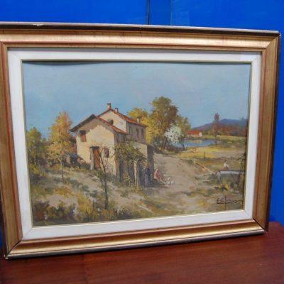 Dipinto ad olio con veduta agreste 90 x 69 cm 192308038300 3