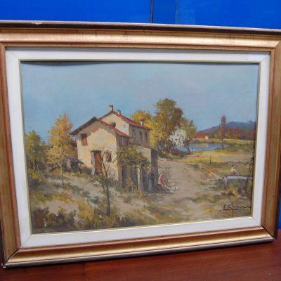 Dipinto ad olio con veduta agreste 90 x 69 cm 192308038300